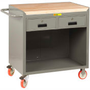 """Little Giant MCJ-2436-2DRTL  36"""" W Mobile Bench Cabinet, 2 Drawers, Butcher Block Top"""