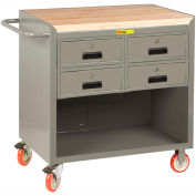 """Little Giant MCJ-2436-4DRTL  36"""" W Mobile Bench Cabinet, 4 Drawers, Butcher Block Top"""