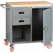 "Little Giant MCJ1D2436-2DRTL Mobile Bench Cabinet, 2 Drawers, 1 Door, Butcher Block Top 36""W x 24""D"