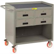 """Little Giant MCM-2436-4DRTL  36"""" W Mobile Bench Cabinet, 4 Drawers, Non-Slip Vinyl Mat"""