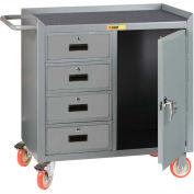 "Little Giant MCM1D2436-4DRTL  36"" W Mobile Bench Cabinet, 4 Drawers, 1 Door, Non-Slip Vinyl Mat"