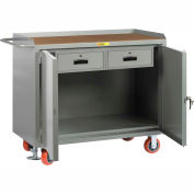 "Little Giant MH2D-2448-2DRFL  48"" W Mobile Bench Cabinets, Double Storage Drawers 2 Doors"