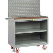 "Little Giant MH3-2448-FL-LP 48""W x 24""D Mobile Service Bench, Center Shelf, 1/4"" Hardboard Top"