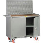 "Little Giant MH3-2D-2448FLLP 48""W x 24""D Mobile Service Bench, Center Shelf, 1/4"" Hardboard Top"
