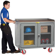 """Little Giant MHP3-2D-2448-FL  48"""" W Mobile Bench Cabinets, Center Shelf, 2 Clear view Doors"""