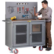 "Little Giant MHP3-2D-FL-PB 48""W x 24""D Mobile Workbench, Center Shelf, 1/4"" Hardboard Top"
