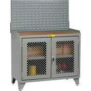Little Giant Bench Cabinet MHP3LL-2D2448LP - 48x24, Hardboard Top, Clearview Doors, Louvered Panel
