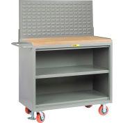 "Little Giant MJ3-2448-FL-LP 48""W x 24""D Mobile Service Bench, Center Shelf, Butcher Block Top"