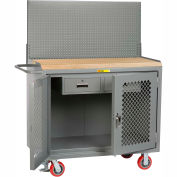 "Little Giant MJP2D-2DRFL-PB 48""W x 24""D Mobile Service Bench, Pegboard Panel, 2 Drawers"