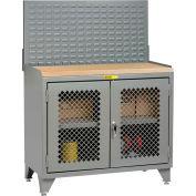 Little Giant Bench Cabinet MJP3LL-2D2448LP - 48x24, Butcher Block Top Clearview Doors Louvered Panel