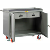 """Little Giant MM2D-2448-2DRFL  48"""" W Mobile Bench Cabinets, Double Storage Drawers, 2 Doors"""