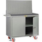 "Little Giant MM3-2D-2448FLLP 48""W x 24""D Mobile Service Bench, Center Shelf, Non-Slip Vinyl Top"