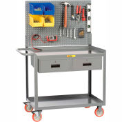 """Little Giant® Mobile Workstation MW2448-5TL-2DRPB With Pegboard Panel 24"""" x 48"""" 2 Drawer"""