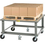 Little Giant® Ergonomic Adj. Height Pallet Stand PDSE4848 Solid Deck 48 x 48 with Floor Locks