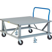 Little Giant® Ergonomic Adj. Height Pallet Stand with Handle PDSEH48486PH2FL - Solid Deck 48x48