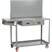 Little Giant® Work Height Mobile Workstation QC2448-TL2DRPB With Pegboard Panel 24x48 2 Drawers