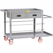 "Little Giant® Wire Reel Electrician's Cart, 24""x48"", 2 Drawers"
