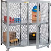 "Little Giant® Welded Storage Locker w/Center Shelf, Mesh Sides, 61""W x 39""D x 52""H"