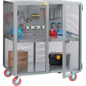 """Little Giant Mobile Tool Security Cabinet SC1-2460-6PY-PB - 60"""" x 24"""", Pegboard Panel,1 Center Shelf"""