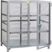 "Little Giant® Welded Storage Locker w/2 Center Shelves, Mesh Sides, 73""W x 33""D x 52""H"