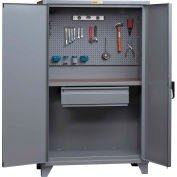 Little Giant Pegboard Cabinet Work Center SSW-2460-HD-PB - Hardboard Work Surface - 60x24-1/4x78