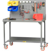"Little Giant WM-2872-LP 72""W x 28""D Mobile Welded Workbench with Backstops and Louvered Panel"