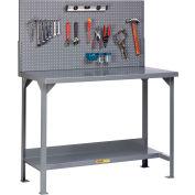 "Little Giant WST2-3072-36-PB 72""W x 30""D Fixed Height Workbench, Lower Shelf, Pegboard Panel"