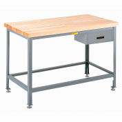"""Little Giant WT-2448-LL-DR 48""""W x 24""""D Butcher Block Top Tables, Drawer"""