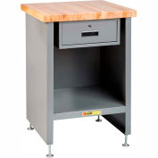 """Little Giant Enclosed Table W/ Drawer, Maple Butcher Block Square Edge, 13""""W x 17""""D x 34""""H, Gray"""