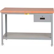 "Little Giant WTS-2436-LL-DR 36""W x 24""D Butcher Block Top Tables, 2 Shelf, Drawer"