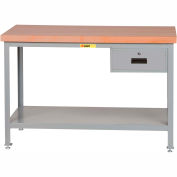 "Little Giant WTS-3060-LL-DR 60""W x 30""D Butcher Block Top Tables, 2 Shelf, Drawer"