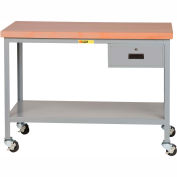 """Little Giant WTS-3072-3R-DR Mobile Butcher Block Top Tables, 30"""" x 72"""", 2 Shelf, Drawer"""