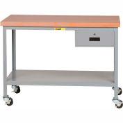 "Little Giant WTS-3072-3R-DR Mobile Butcher Block Top Tables, 2 Shelf, Drawer - 72""W x 30""D x 35""H"