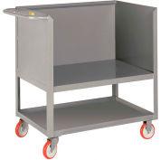 Little Giant® Raised Platform Box Trucks w/Lower Shelf, 3 Solid Sides, 18x32, Poly Wheels