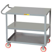 Little Giant® Ergonomic Steel Shelf Truck, (3) 24x36 Shelves, 2 Flush, 1200 Lbs. Capacity, Gray