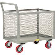 Little Giant® 4-Sided Box Trucks w/Ergo Handle, Mesh Sides, 2000 lb, 30x48, Poly Wheels