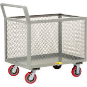 Little Giant® 4-Sided Box Trucks w/Ergo Handle, Mesh Sides, 2000 lb, 30x48, Poly Wheels