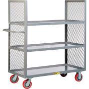 """Little Giant® 2-Sided Bulk Truck, Mesh Sides, 3 Lipped Shelves, 24x48, 6"""" Poly Wheels"""