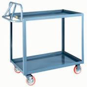 Little Giant® Ergonomic Welded Shelf Truck ERLGL-2436-BRK, 2 Lip Shelves, 24 x 36