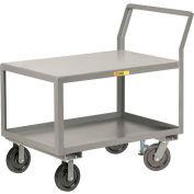 "Little Giant® Sloped Handle HD Utility Cart, 2 Shlf, 3600 lb Cap., 24x36x28, 8"" Whl, Floor Lock"