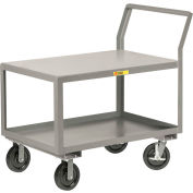 "Little Giant® Sloped Handle HD Utility Cart, 2 Shlf, 3600 lb Cap., 24x36x28, 8"" Wheels w/Brakes"