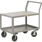 "Little Giant® Sloped Handle HD Utility Cart, 2 Shlf, 3600 lb Cap., 30x60x28, 8"" Wheels w/Brakes"