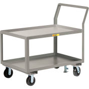"Little Giant® Sloped Handle HD Utility Cart, 2 Lip Shlf, 3600 lb, 30x48x28, 8"" Whl, Floor Lock"