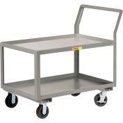 "Little Giant® Sloped Handle HD Utility Cart, 2 Lip Shlf, 3600 lb, 30x60x28, 8"" Wheels w/Brakes"