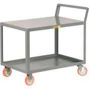"Little Giant® Sloped Handle Service Cart, Flush Top Shlf, 1200 lbs Cap., 18x32, 5"" Poly Casters"
