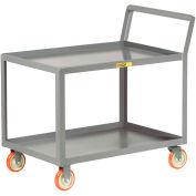 "Little Giant® Sloped Handle Service Cart, Lipped Shlvs, 1200 lbs Cap., 24x48, 5"" Poly Casters"