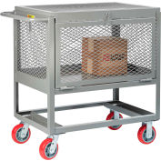 Little Giant® Raised Platform Trucks with Drop-Gate & Lid, Mesh Sides, 2000 lb Cap., 24x36
