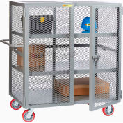 "Little Giant® HD Job Site Security Box Truck w/Handle, 2 Center Shelves, 36x60, 6"" Poly Wheels"