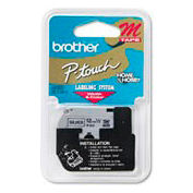 M Series Tape Cartridge for P-Touch Labelers, Black on Silver, 1/2 Width