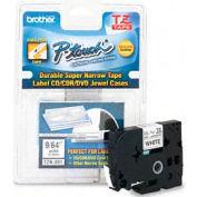P-Touch Cartridge, TZ Super-Narrow Non-Laminated Tape, Black-on-White, 1/8W